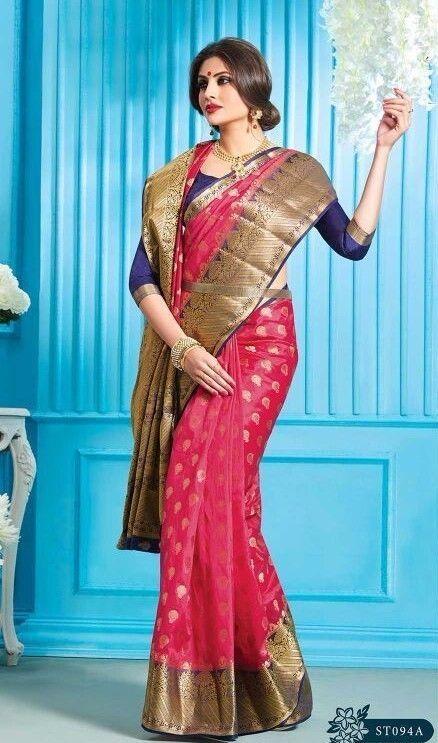 wedding Wear Saree Indian ethnic zari blouse Bollywood bridal south silk Sari  #Handmade #saree