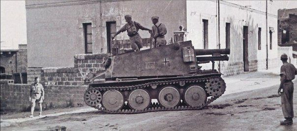 Self-propelled artillery installation of the Geschützwagen 38 (t) für s.IG.33/2 (Sf) (SdKfz 138/1 Grille), Hermann Goering division Sicily 1943, pin by Paolo Marzioli