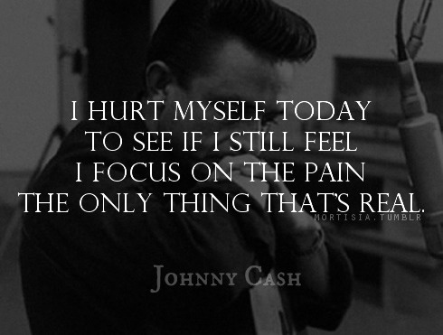 johnny cash hurt lyrics .   Nine inch nails lyrics but Johnny cash did a cover... Like both versions