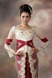 model kebaya modern kombinasi putih merah