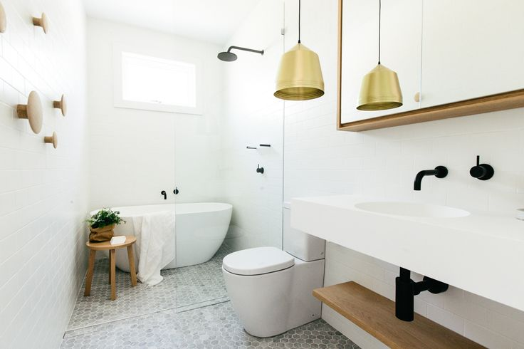 Black and White. Wood and Marble. Glass panel at shower. Hex Tile. Brass Pendant. C+M Studio. Sydney, Australia.