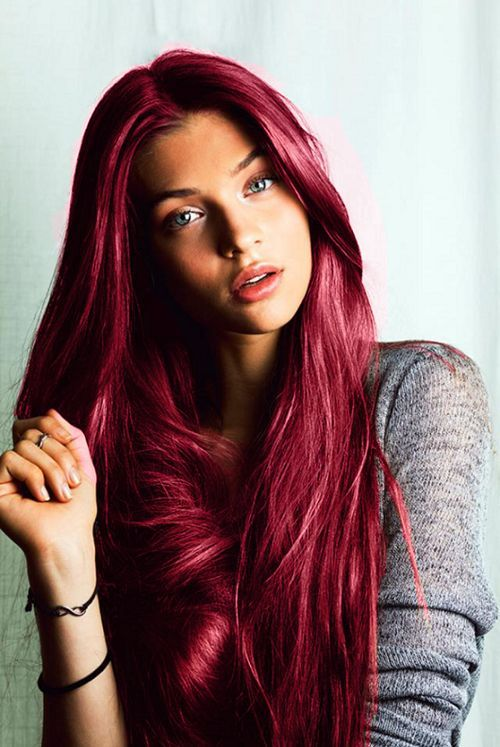 Strawberry pink hairstyle for long hair