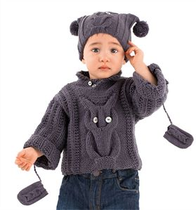 Babies Knitting Patterns Owl Sweater, Hat & Mittens Pattern