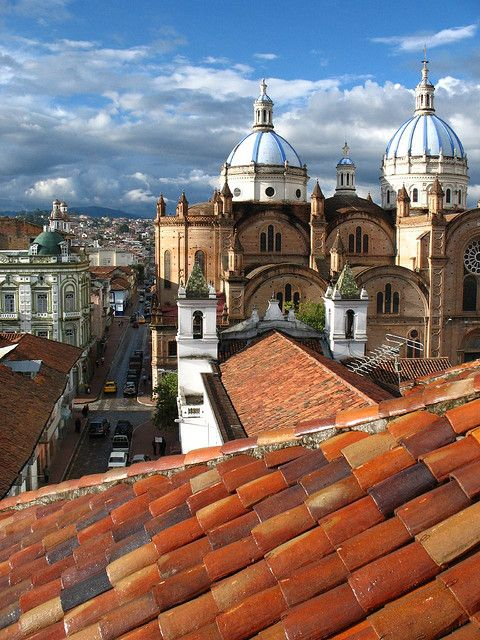 UNESCO World Heritage Site - The colonial city of of Santa Ana de los Ríos de Cuenca, Ecuador founded in 1557.  This was built on the rigorous planning guidelines Spanish King Carlos V issued in 1527.