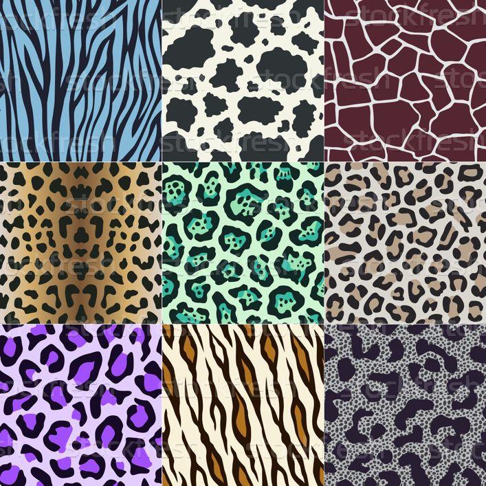 seamless cow, zebra, panther, tiger animal skin pattern