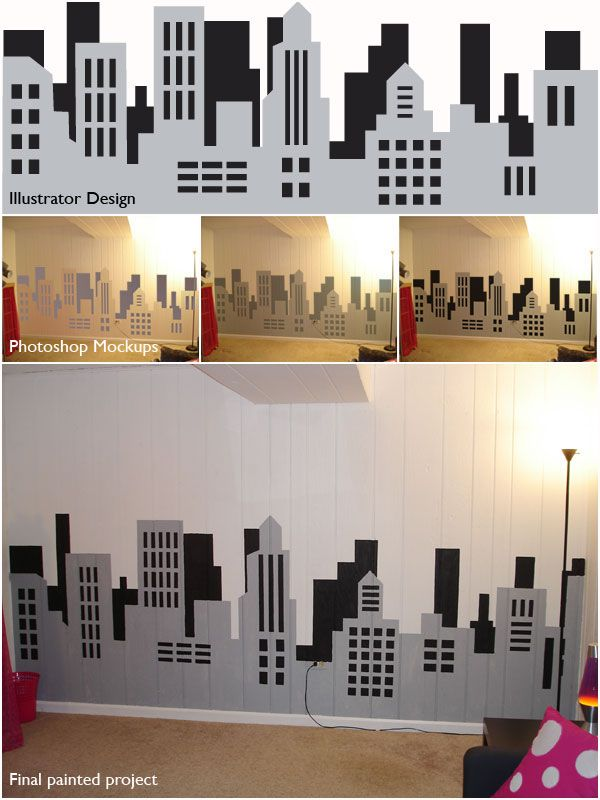 Creative in Chicago: a decorating blog: Painting a skyline wall mural