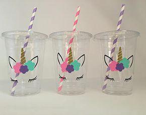 Unicorn Party Cups, Unicorn eyelash party, unicorn birthday party, Unicorn Baby Shower