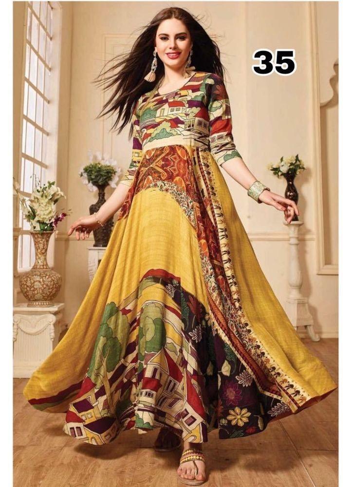 de2e2e534d Indian Bollywood Designer indo western gown Kurta Kurti women ethnic dress -ag35