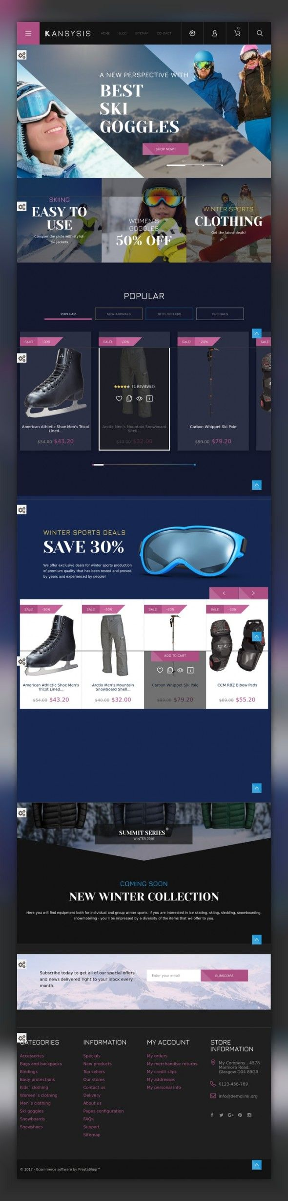 Kansysis - Sport Clothing & Equipment PrestaShop Theme E-commerce Templates, PrestaShop Themes, Sports, Outdoors & Travel, Sport Templates, Sports Store Templates Searching for a template with unique design and innovative online store functionality? Pick Sports Gear PrestaShop Theme with theme color switcher, product quick view, cloud zoom, categories accord...