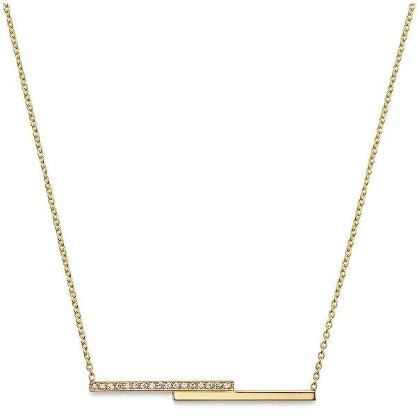 "Zoe Chicco 14K Gold Staggered Bar Necklace with Pave Diamonds, 16"" ($860) ❤ liked on Polyvore featuring jewelry, necklaces, gold, cross necklace, 14k pendant, 14k gold pendant, yellow gold necklace and womens jewellery"