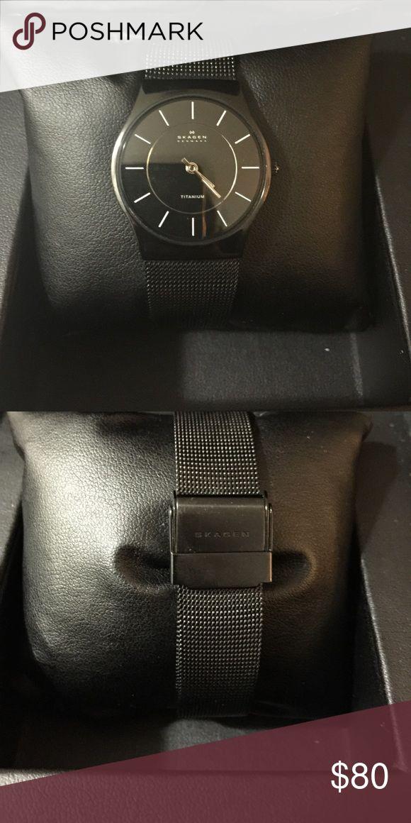 Skagen titanium Watch... Black Skagen titanium Watch, In good condition, works great just needs a battery... Skagen Accessories Watches