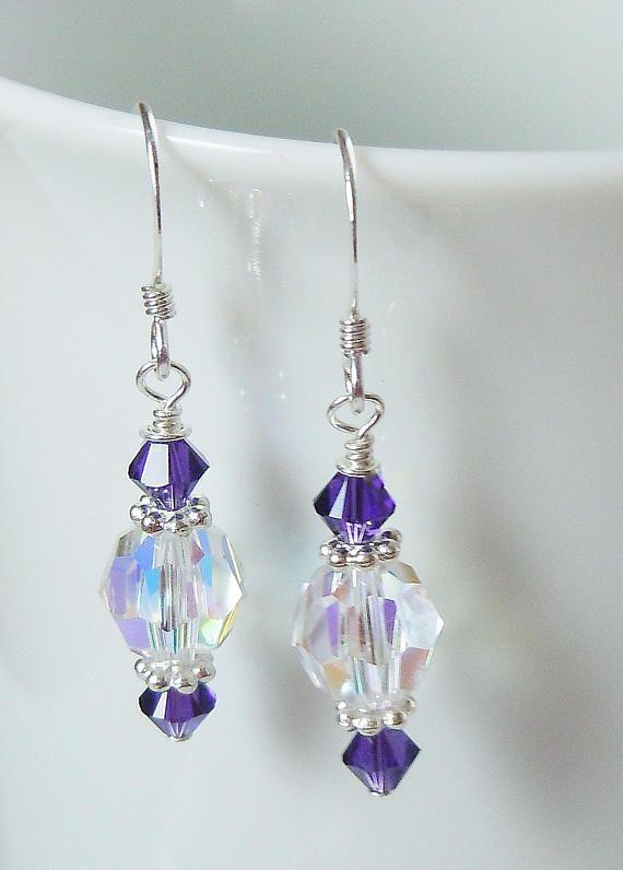 Swarovski cristal AB y terciopelo púrpura con cuentas