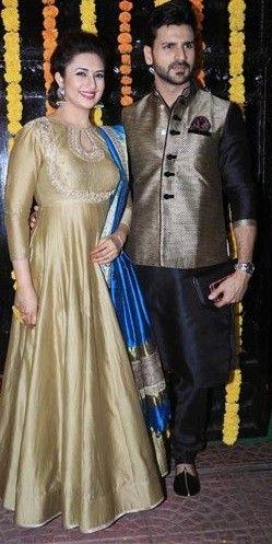 Divyanka Tripathi in Golden Anarkali for Diwali 2016,Tafeta silk  anarkali suit,stone work anarkali suit,simple anarkali suit,wedding anarkali suit