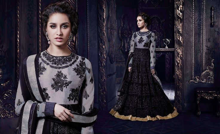 Black & Grey Stunning Lehenga Choli ... For price enquiry email @ hello@thebollywoodbazaar.com