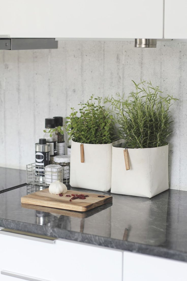kitchen | deco herbs and seasoning in basket by cooktop