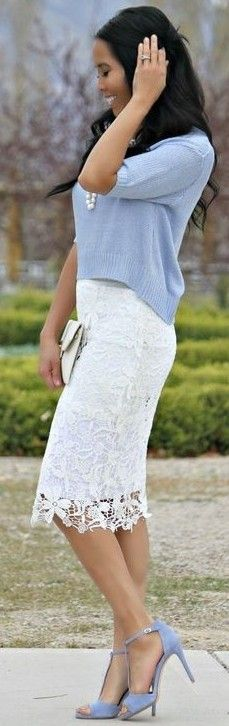 #september #trending #outfits | Baby Blue Sweater + White Lace Skirt