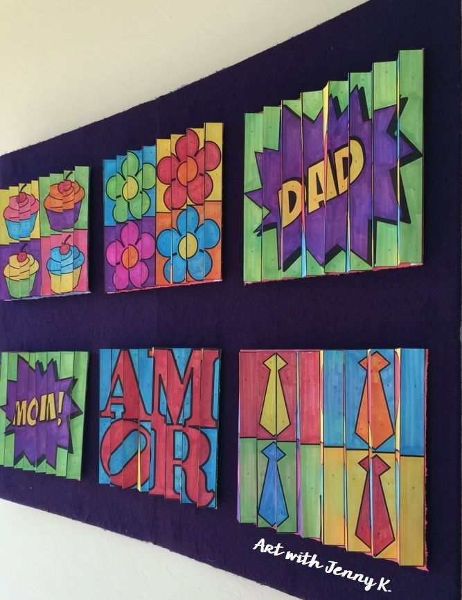 """Art projects kids can color, cut and fold to make a lasting impression and has a huge WOW factor - """"Art with Jenny K"""" agamographs for Mother's Day, Father's Day and Valentine's Day."""