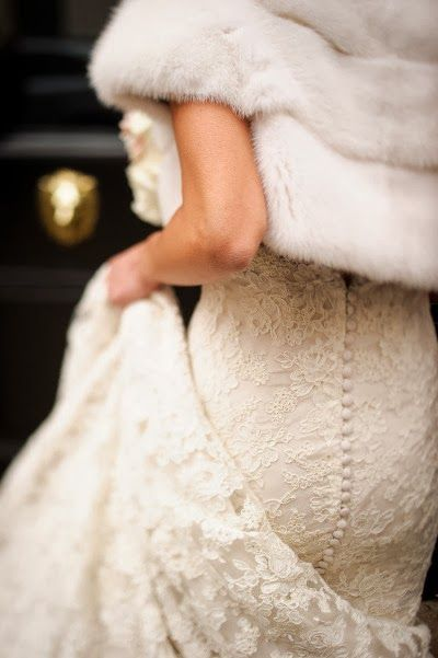 lace paired with a fur wrap
