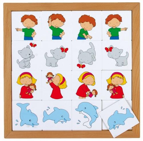 --- Richtingenspel --- Speciaal ontwikkeld voor kinderen van 2-5 jaar. Acht eenvoudige lotto's, passend bij de belevingswereld van deze leeftijd. Alle spellen zijn gemaakt van 2,5 mm kunststof en per spel verpakt in een beukenhouten inlegraam. Alle 8 lotto's samen passen in de puzzelkast 34.  Formaat: 34 x 34 cm. 523 016