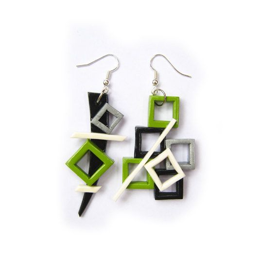 Geometric green black and white polymer clay by trampsandglams, $28.00