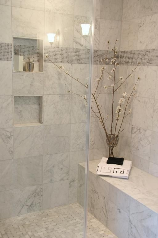 lavish marble master bath steam shower wall inset for shampoo