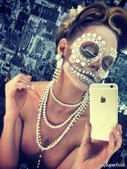 Just a selfie. Pearls. Halloween make up. Sugar skull