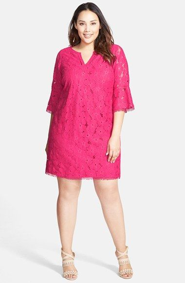 Adrianna+Papell+Split+Neck+Shift+Dress+(Plus+Size)+available+at+#Nordstrom