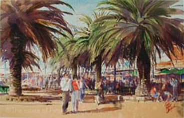 'Moseley palms, Glenelg', watercolour on paper, image size 51 cm x 32 cm, unframed $600. ©The estate of Peter Chaplin.  All rights reserved.