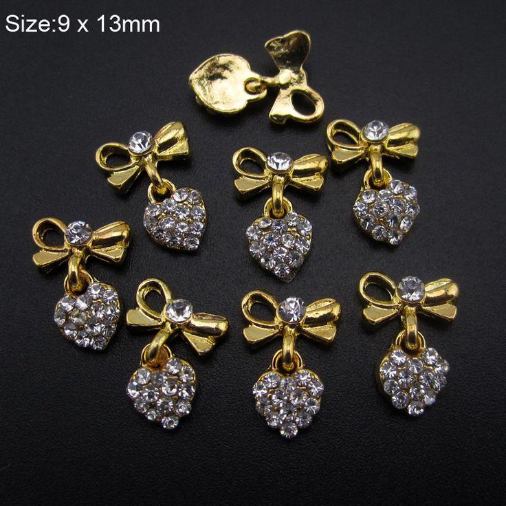 10 adet Glitter Strass kalp tasarım tırnak altın alaşım 3d nail art dekorasyon tırnak AM394 için yaylar zincir