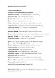 English worksheet: Telephone conversations with questions
