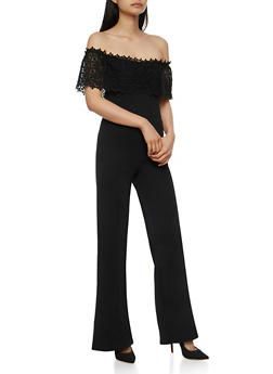 Rainbow store Deerfield beach Crochet Off the Shoulder Jumpsuit - BLACK - 3410062706509