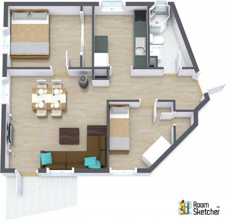 What do you think of the angles on this floor plan?  Customize dream home design ideas:  http://www.roomsketcher.com  3D floor plan with aerial view for a 2 bedroom apartment designed in RoomSketcher Business Edition   #floorplan #apartmentliving
