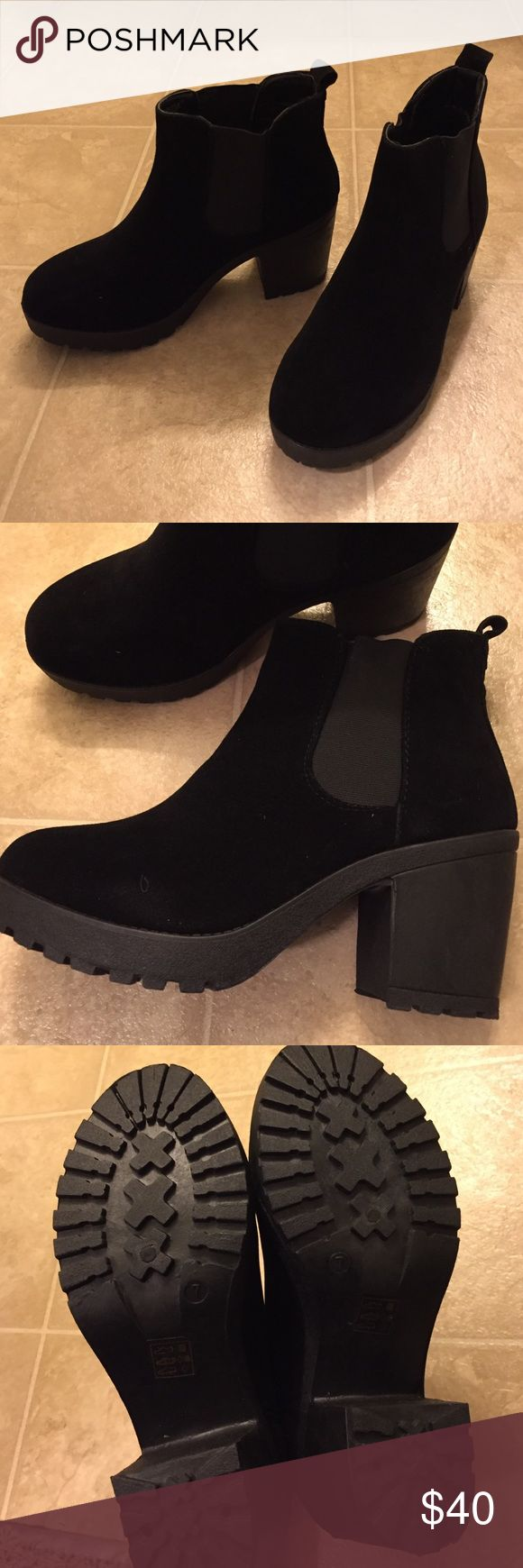 Black ankle boots for the winter! Super cute and comfortable ankle boots! Completely new and never worn...I bought the wrong size for myself although I do love them! They have a heel but is still very comfortable! The material of the boots is like suede Boohoo Shoes Ankle Boots & Booties