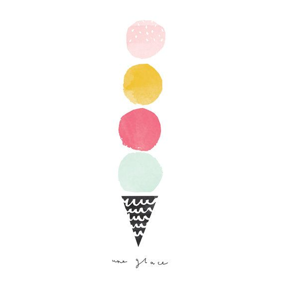 Ice cream Illustrated Art Print une glace //TheLovelyDrawer