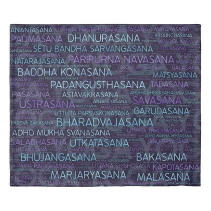 Yoga Asanas / Poses Sanskrit Word Art  on Purple Duvet Cover - home gifts ideas decor special unique custom individual customized individualized