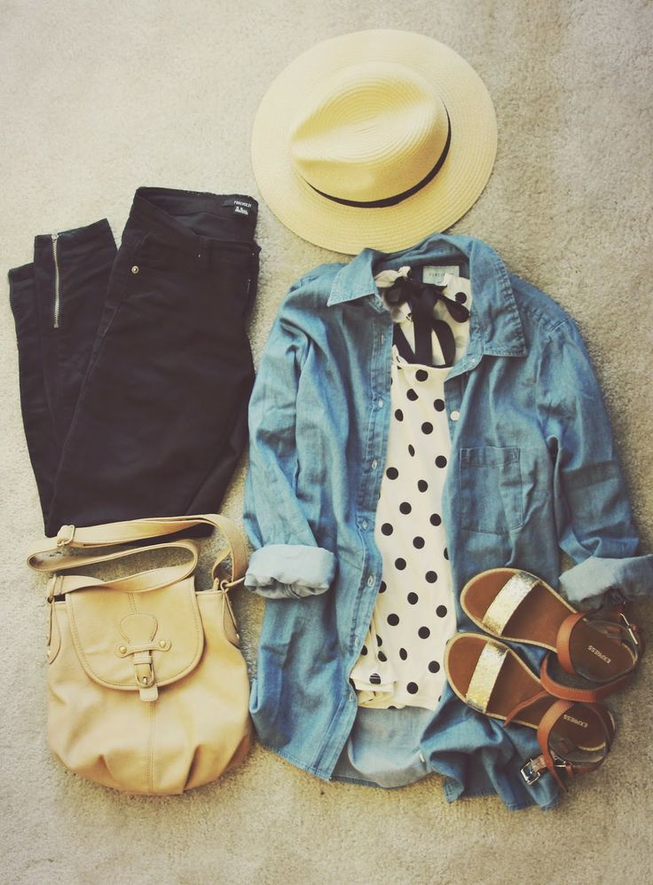 Black and white polka dot top, open denim button-up shirt, black ankle zipper skinny jeans, sandals