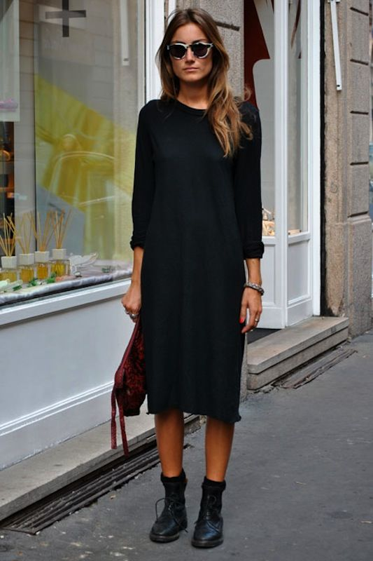 A perfect all black clothing look with boots~for my Spring, Summer, add  tights with a long, and I am set! I would wear this outfit everyday too!