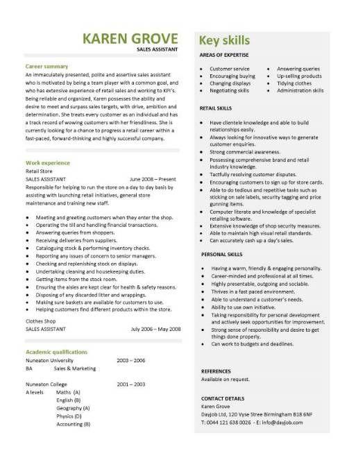 Retail CV template, sales environment, sales assistant CV, shop work, store manager resume