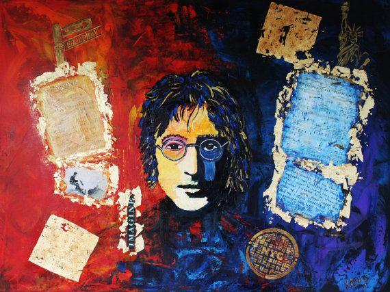 ART Abstract Portrait John LENNON Large par KathleenArtistPro
