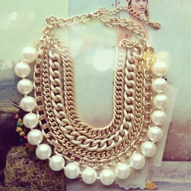 Minerva Gold Chains & Pearls Statement Necklace