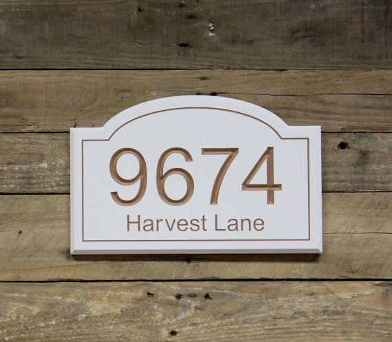 This is our beautiful house number sign for the front of your house! This piece will be custom engraved, routed and meticulously hand painted in our St. Louis shop. Two coats of polyurethane will be applied to protect it from natural elements. Keyhole hangers are mounted on the backside and two screws and anchors are provided for hanging it on your house. If you would prefer saw tooth hangers instead please specify in the buyer notes when purchasing…
