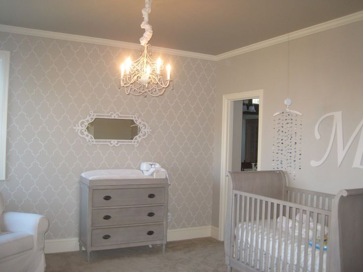 Neutral, chic nursery that still features feminine touches - accomplished without pink! #neutral #nursery: Cream Baby, Girls Nursery, Baby Girl Nurserys, Girl Nurseries, Girls Bedroom Feature Wall, Baby Girls, Cream And Grey Nursery, Cream And Gray Nursery