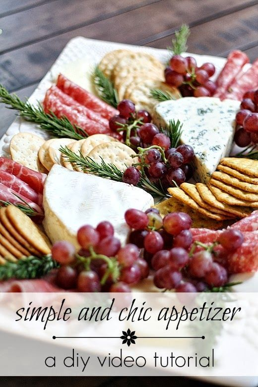 Appetizer: Meat & Cheese Platter with Clusters of Red Grapes, Rosemary Sprigs and Assorted Crackers: DIY Video Tutorial (two meats, three cheeses, all from Trader Joe's)