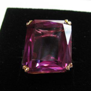 #Large #Vintage #Amethyst #Ring in #Hand #Crafted 14k #Rose #Gold #Setting €950