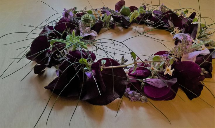 Gothic wedding floral crown - dark purple sweet peas, mint lavender and poppy heads  www.chirpee.net  chirpee flowers by steph willoughby
