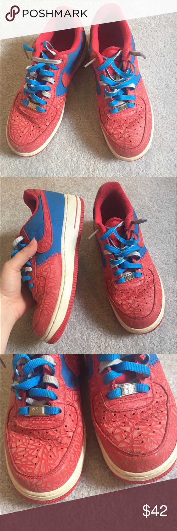 Nike Air Force 1 Red Blue 4th of July Rare sneaker Nike Air Force 1 rare red white blue sneakers size 8. They are in good condition but do have some dirtiness throughout and the rubber band has some dirtiness-turned from white to a creamier tan color. #nike #shoefie Nike Shoes Sneakers