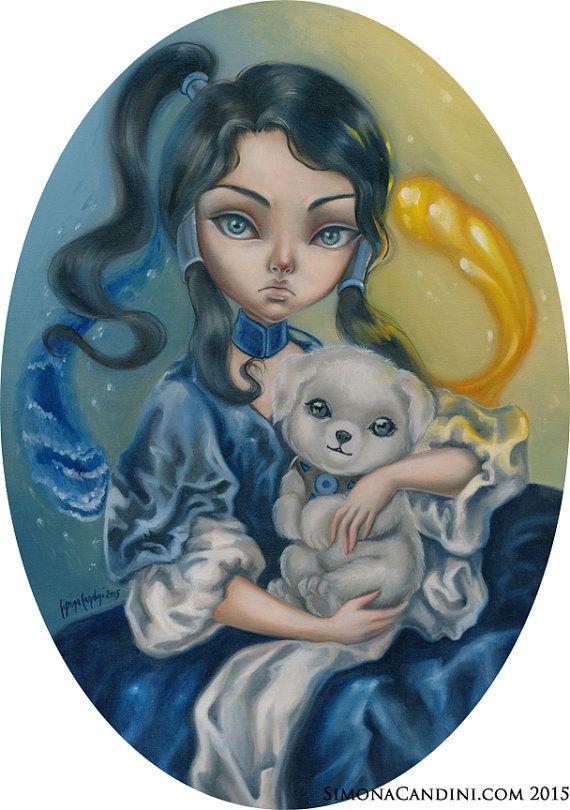 Princesse Korra signé à tirage limité numéroté Simona Candini lowbrow pop surréaliste grands yeux conte la légende de Korra Avatar manga