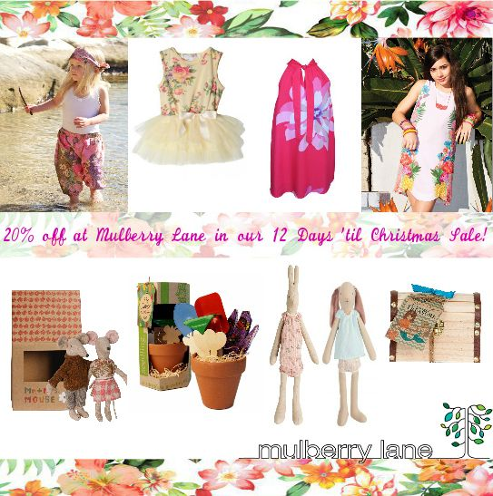 20% off instore and online at Mulberry Lane!  Get in quick for some stunning summer bargains - sale ends Christmas Eve. Shopping online? Use coupon 20off and receive free shipping on orders of $50 or more!