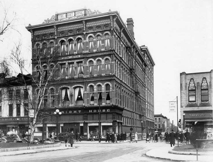 """""""An early shot of The Right House, with just a glimpse of Woolworths and Kresges.""""  Built in 1890, opening in 1893 as Hamilton's first large department store"""