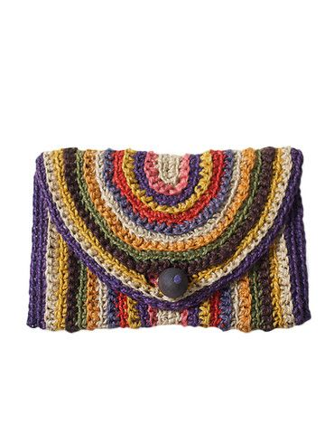 Rainbow Crochet Clutch $68 #recollection vintage #crochet #vintage #purse #bag #clutch